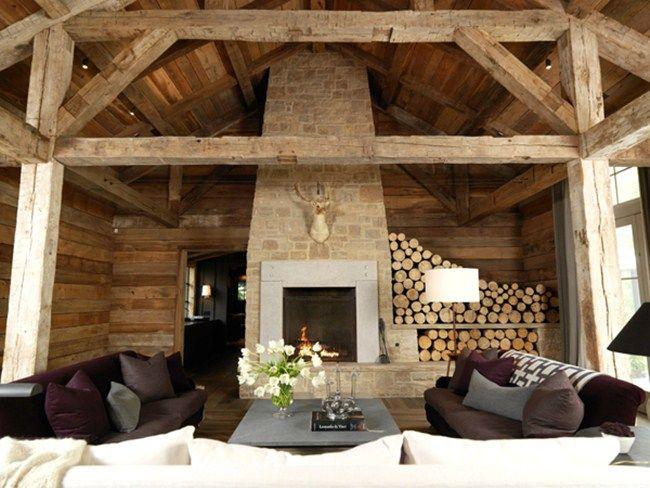 Дървена къща всекидневна