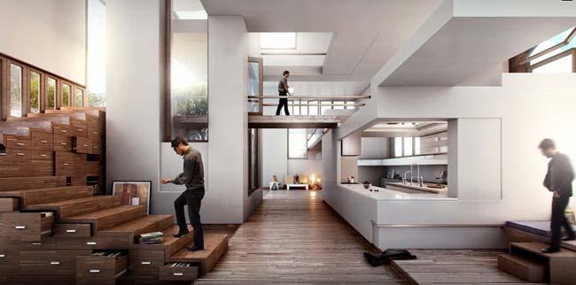 Функционално стълбище с шкафчета