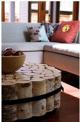 Кафе маса от дървени трупчета