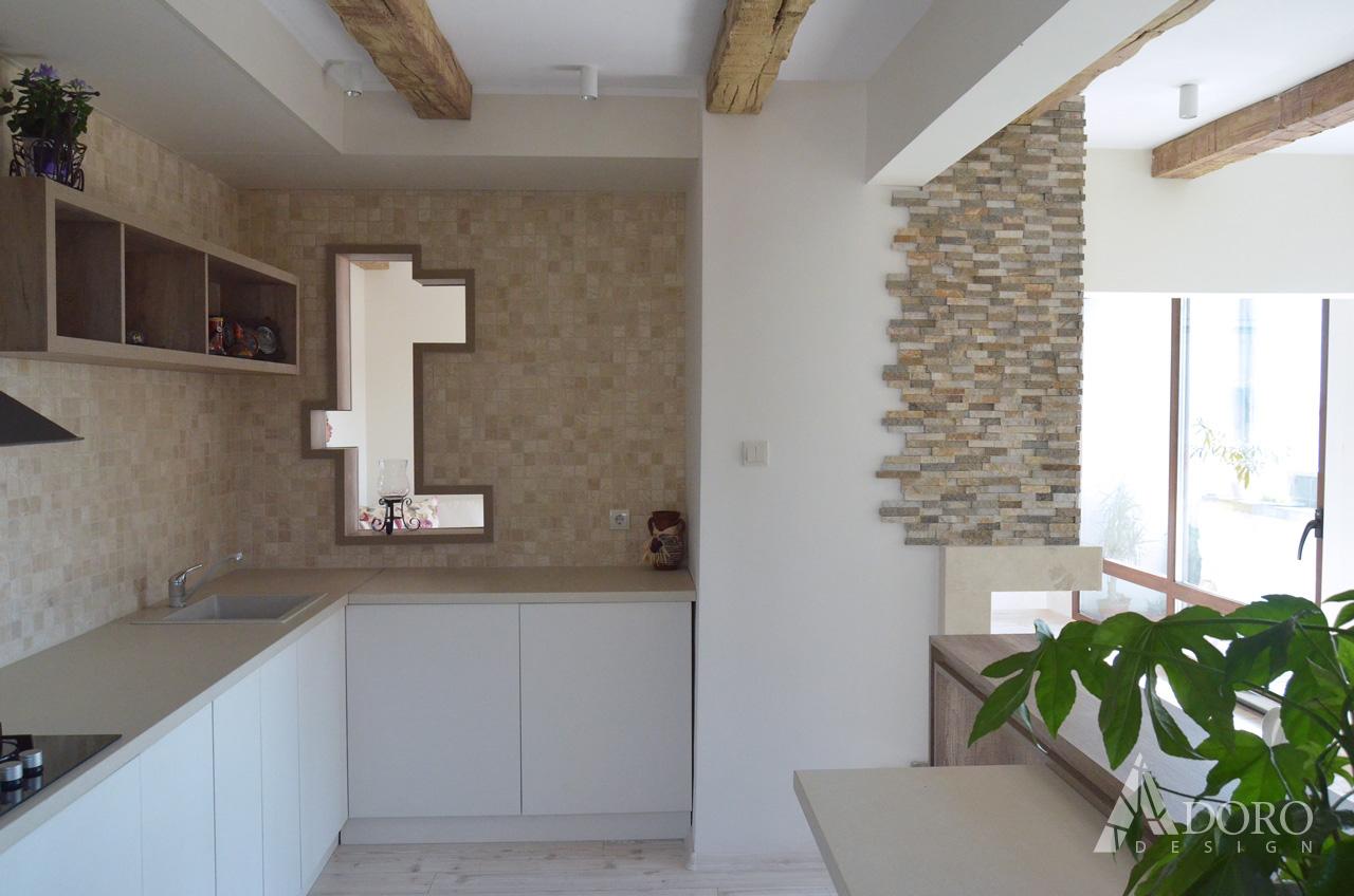 Реализиран интериорен дизайн на кухня в апартамент гр. Бургас