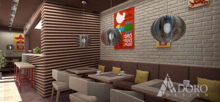 """Дизайн на обществен интериор – бар """"Кафене"""" гр. Дупница"""